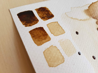 vzorník barevných odstínů získaných z kávy