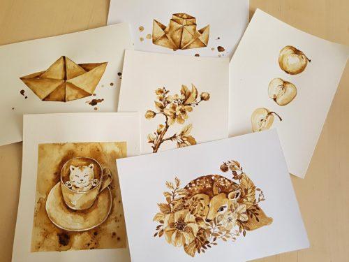 obrázky malované kávou
