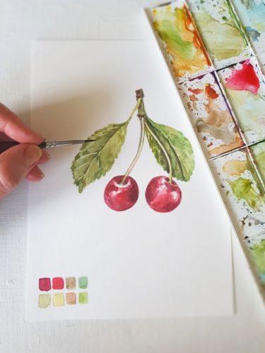 lazury v akvarelu, detaily