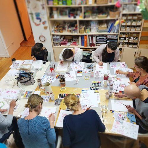 tvořivost na kurzu akvarelu