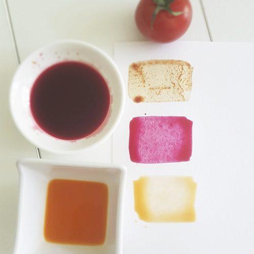 přírodní barvy z řepy,mrkve a rajčete