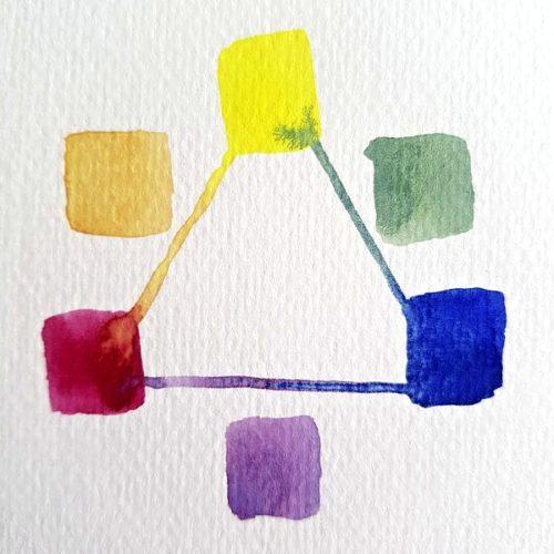akvarel základní barvy studené odstíny
