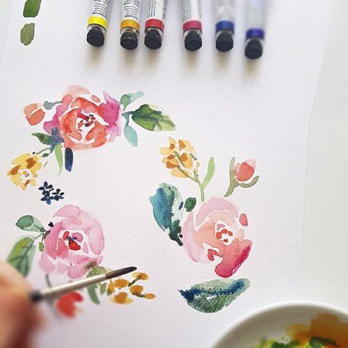 květiny akvarelem Daniel Smith