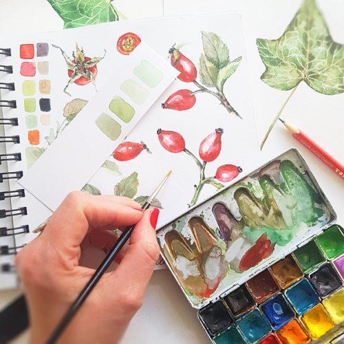 botanický akvarel