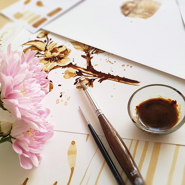 malba kávou pro Tchibo